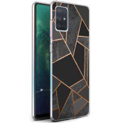 iMoshion Coque Design Galaxy A71 - Cuive graphique - Noir / Dorée