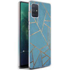 iMoshion Coque Design Galaxy A71 - Cuive graphique - Bleu / Dorée