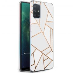 iMoshion Coque Design Galaxy A71 - Cuive graphique - Blanc / Dorée