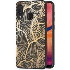 iMoshion Coque Design Samsung Galaxy A20e - Feuilles - Dorée / Noir