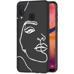iMoshion Coque Design Samsung Galaxy A20e - Visage abstrait - Blanc