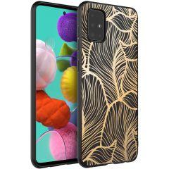 iMoshion Coque Design Samsung Galaxy A51 - Feuilles - Dorée / Noir