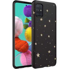 iMoshion Coque Design Samsung Galaxy A71 - Etoiles - Noir / Dorée
