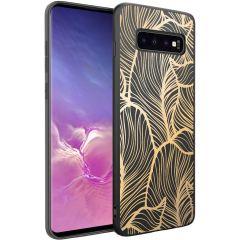iMoshion Coque Design Samsung Galaxy S10 - Feuilles - Dorée / Noir