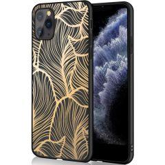 iMoshion Coque Design iPhone 11 Pro - Feuilles - Dorée / Noir