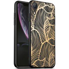 iMoshion Coque Design iPhone Xr - Feuilles - Dorée / Noir