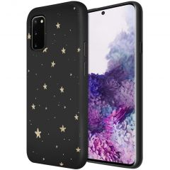 iMoshion Coque Design Samsung Galaxy S20 - Etoiles - Noir / Dorée