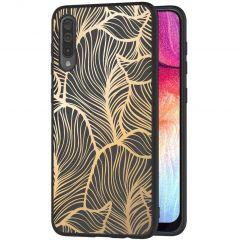 iMoshion Coque Design Galaxy A50 / A30s - Feuilles - Dorée / Noir