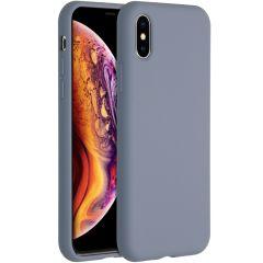 Accezz Coque Liquid Silicone iPhone Xs / X - Lavender Gray