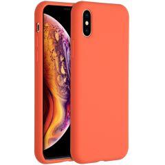 Accezz Coque Liquid Silicone iPhone Xs / X - Nectarine