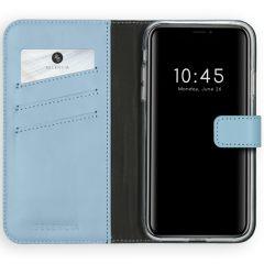Selencia Étui de téléphone en cuir véritable iPhone 11 - Bleu clair