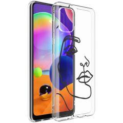 iMoshion Coque Design Samsung Galaxy A31 - Visage abstrait - Noir