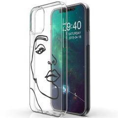 iMoshion Coque Design iPhone 12 Mini - Visage abstrait - Noir