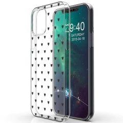 iMoshion Coque Design iPhone 12 (Pro) - Cœurs - Noir