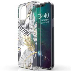 iMoshion Coque Design iPhone 12 (Pro) - Feuilles - Noir / Dorée