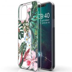 iMoshion Coque Design iPhone 12 (Pro) - Jungle - Vert / Rose
