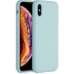Accezz Coque Liquid Silicone iPhone Xs / X - Bleu clair