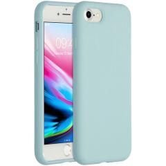 Accezz Coque Liquid Silicone iPhone SE (2020) / 8 / 7 - Bleu clair