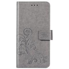 Etui de téléphone Fleurs de Trèfle Samsung Galaxy A42 - Gris