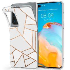 iMoshion Coque Design Huawei P40 - Cuive graphique - Blanc / Dorée