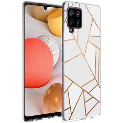 iMoshion Coque Design Galaxy A42 - Cuive graphique - Blanc / Dorée