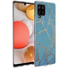 iMoshion Coque Design Galaxy A42 - Cuive graphique - Bleu / Dorée
