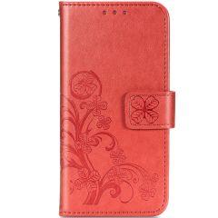 Etui de téléphone Fleurs de Trèfle Galaxy A21s - Rouge