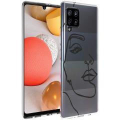 iMoshion Coque Design Samsung Galaxy A42 - Visage abstrait - Noir