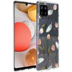 iMoshion Coque Design Samsung Galaxy A42 - Fleur - Rose / Vert