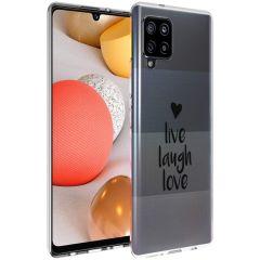 iMoshion Coque Design Samsung Galaxy A42 - Live Laugh Love - Noir