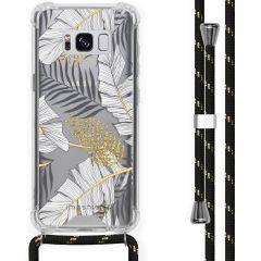iMoshion Coque Design avec cordon Samsung Galaxy S8 - Feuilles - Noir