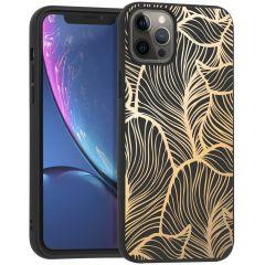 iMoshion Coque Design iPhone 12 Pro Max - Feuilles - Dorée / Noir