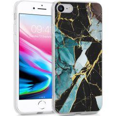 iMoshion Coque Design iPhone SE (2020) / 8 / 7 / 6(s) - Marbre - Bleu