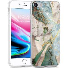 iMoshion Coque Design iPhone SE (2020) / 8 / 7 / 6(s) - Marbre -Beige