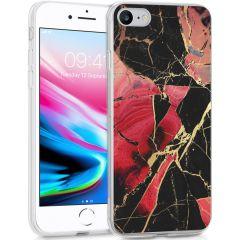 iMoshion Coque Design iPhone SE (2020) / 8 / 7 / 6(s) - Marbre -Rouge
