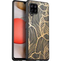 iMoshion Coque Design Samsung Galaxy A42 - Feuilles - Noir / Dorée