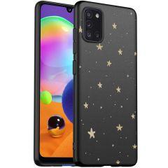 iMoshion Coque Design Samsung Galaxy A31 - Etoiles - Dorée / Noir