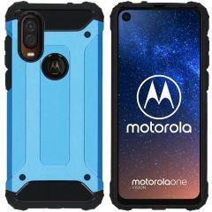 iMoshion Coque Rugged Xtreme Motorola One Vision - Bleu clair
