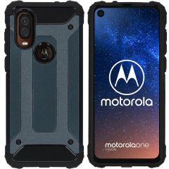 iMoshion Coque Rugged Xtreme Motorola One Vision - Bleu foncé