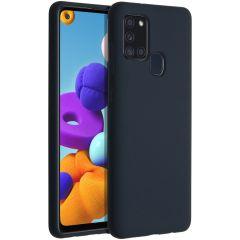 Accezz Coque Liquid Silicone Samsung Galaxy A21s - Bleu foncé