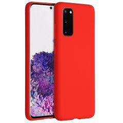 Accezz Coque Liquid Silicone Samsung Galaxy S20 - Rouge