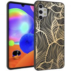 iMoshion Coque Design Galaxy A32 (5G) - Feuilles - Noir / Dorée