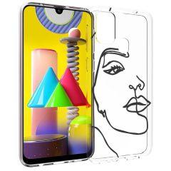 iMoshion Coque Design Samsung Galaxy M31 - Visage abstrait - Noir
