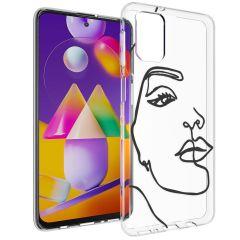 iMoshion Coque Design Samsung Galaxy M31s - Visage abstrait - Noir