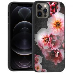 iMoshion Coque Design iPhone 12 (Pro) - Fleur - Rose / Noir