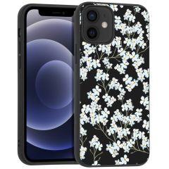 iMoshion Coque Design iPhone 12 Mini - Fleur - Blanc / Noir