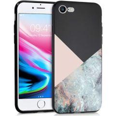 iMoshion Coque Design iPhone SE (2020) / 8 / 7 - Marbre - Rose / Noir