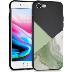 iMoshion Coque Design iPhone SE (2020) / 8 / 7 - Marbre - Vert / Noir