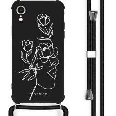 iMoshion Coque Design avec cordon iPhone Xr - Visage abstrait fleur