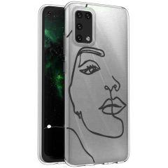 iMoshion Coque Design Samsung Galaxy A02s - Visage abstrait - Noir